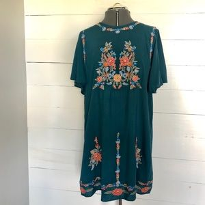 Embroidered, flutter-sleeved dress by entro (Teal)